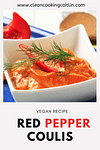 red pepper coulis in the white plate