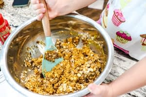 healthy pumpkin oatmeal cookie batter mixed together