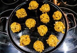 pumpkin oatmeal cookies before being pressed down