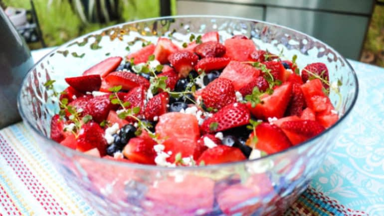 Watermelon berry lemon thyme vinaigrette salad