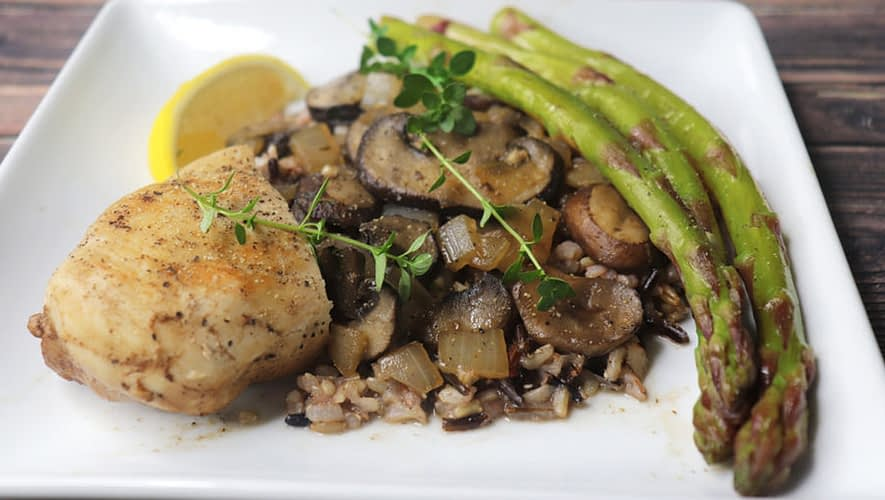 Balsamic Asparagus and Mushrooms with Lemon Thyme reduction