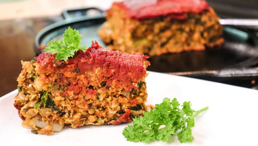 Savory Neatloaf with Chickpeas Lentils Mushrooms and Veggies