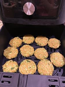Cooking the edamame patties in an air fryer