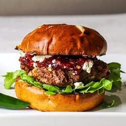 jalapeno bison burger with berry pepper relish