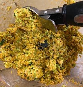 A mixture for Edamame Banh Mi Sliders – Vegetarian Vietnamese Recipe
