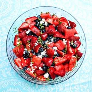 Watermelon berry lemon thyme vinaigrette salad