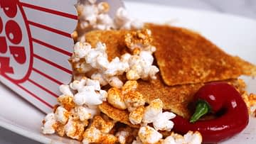 Spicy doritos nacho seasoning on popcorn and tortilla chips