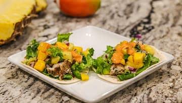 fish tacos with tropical salsa and siracha mayo