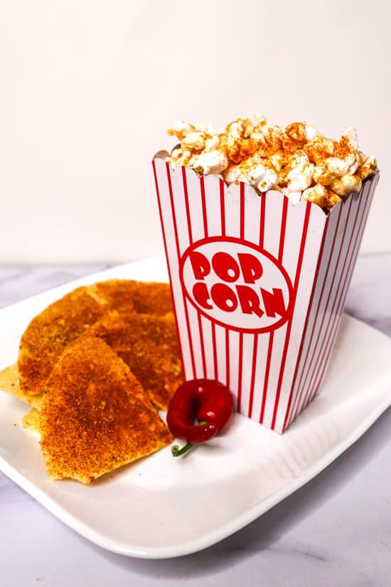 Homemade Spicy Nacho Doritos® and full box of homemade popcorns