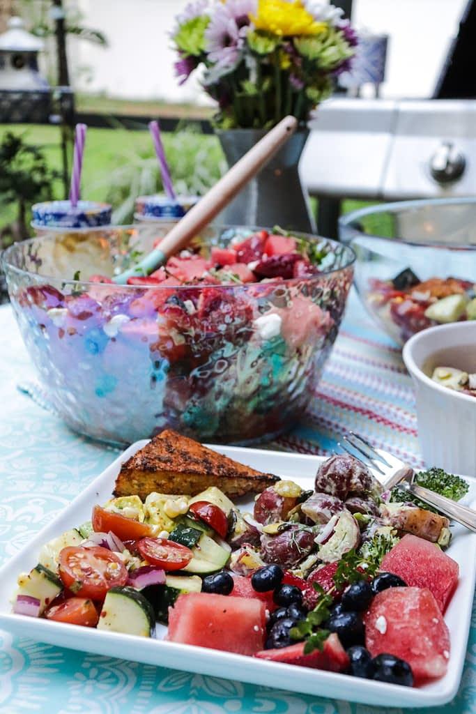 three summer salads berry potato cajun chicken