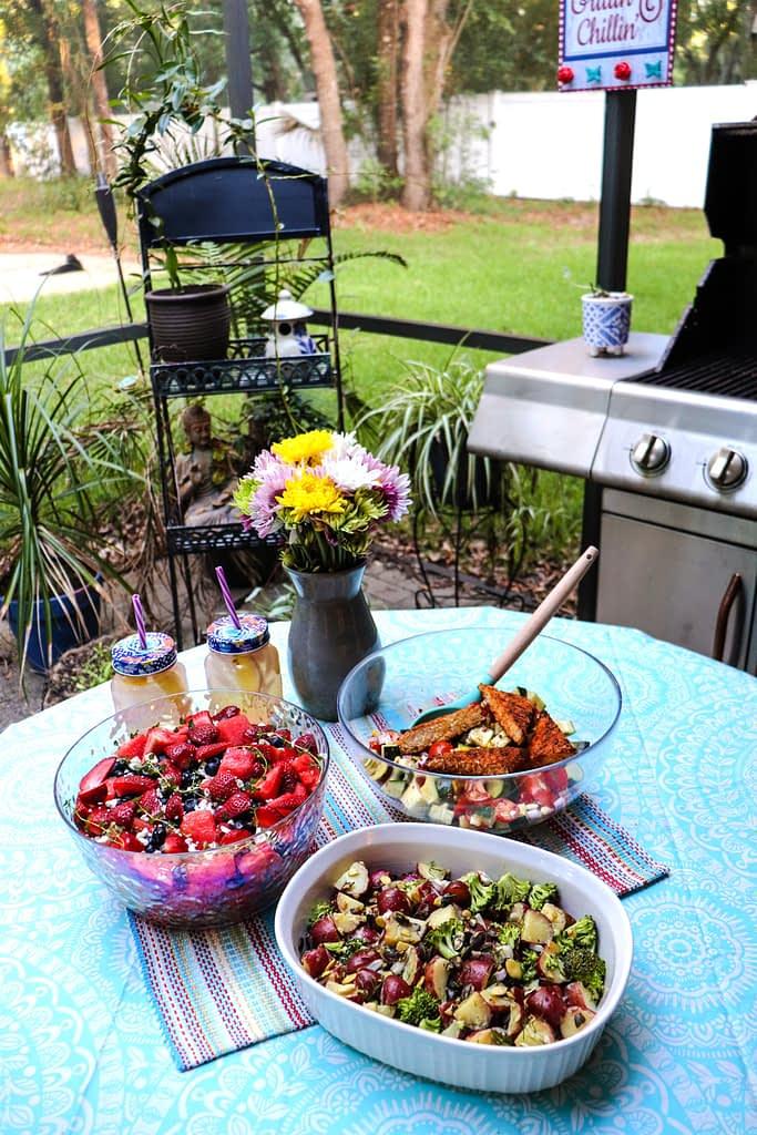 three vegan summer salads
