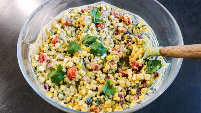 Bowl full of corn salad
