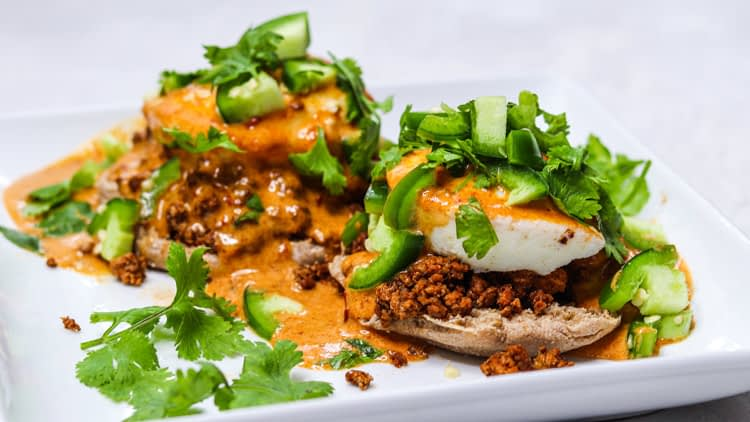 mexican eggs benedict with tofu chorizo chipotle hollaindaise