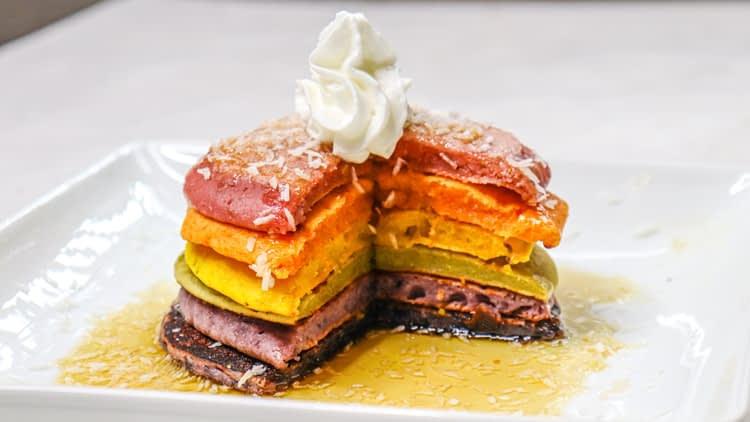 no dye rainbow pancakes