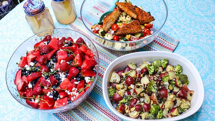 3 Easy and Healthy Summer Salads: Grilled Cajun Chicken or Tempeh Salad, Vegan Red Potato Broccoli Salad and Watermelon Berry Fruit Salad