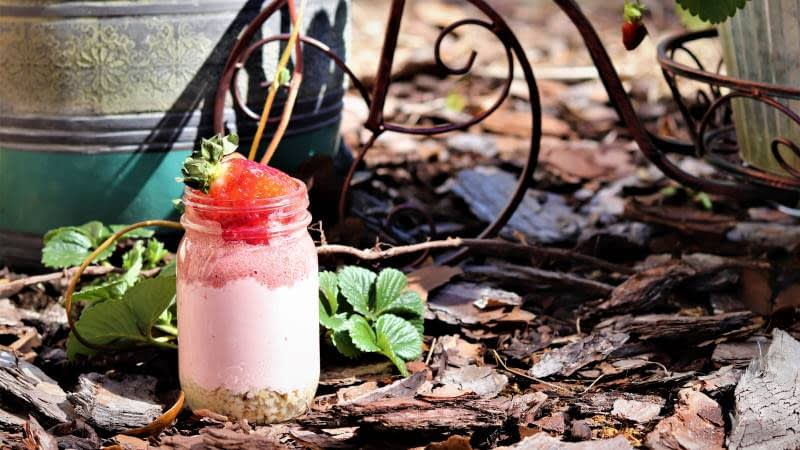 Strawberry Chia Pudding Parfait layered with oats and vanilla protein greek yogurt