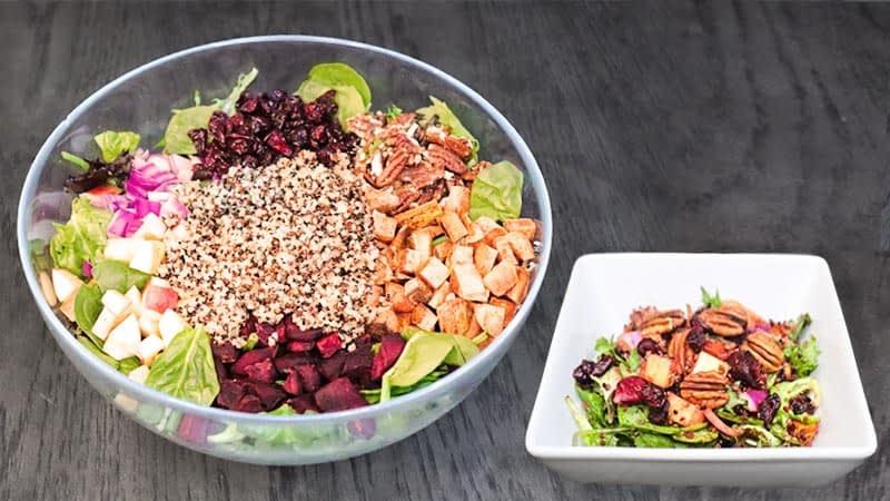sweet potato beet quinoa salad big and small bowl