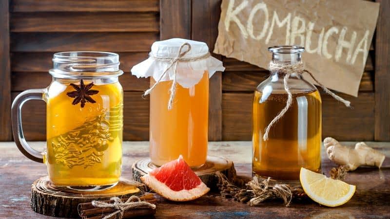 kombucha three flavors on table