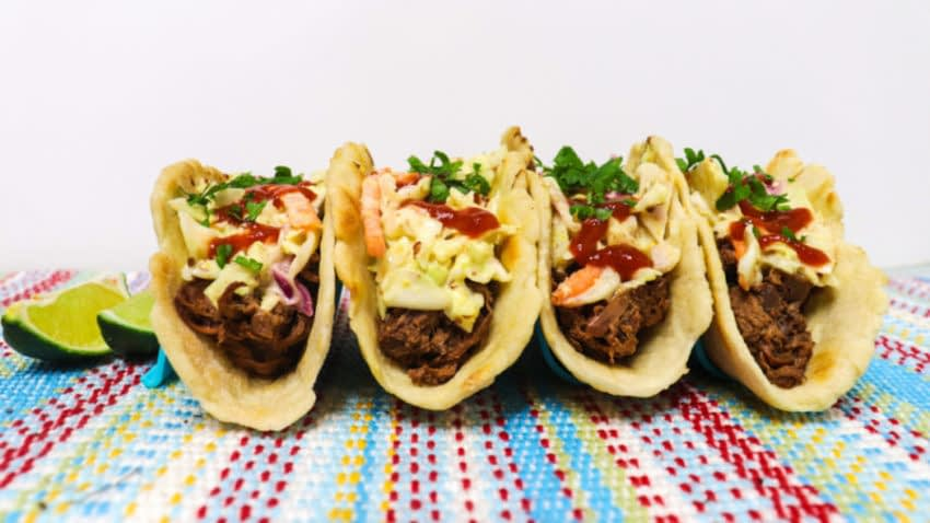 Jackfruit korean tacos side view on a table