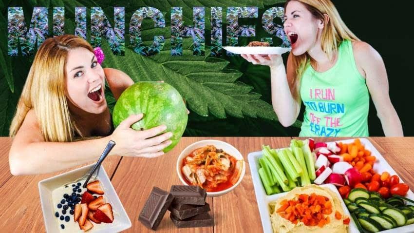 Girl has munchies eating lots of healthy snacks