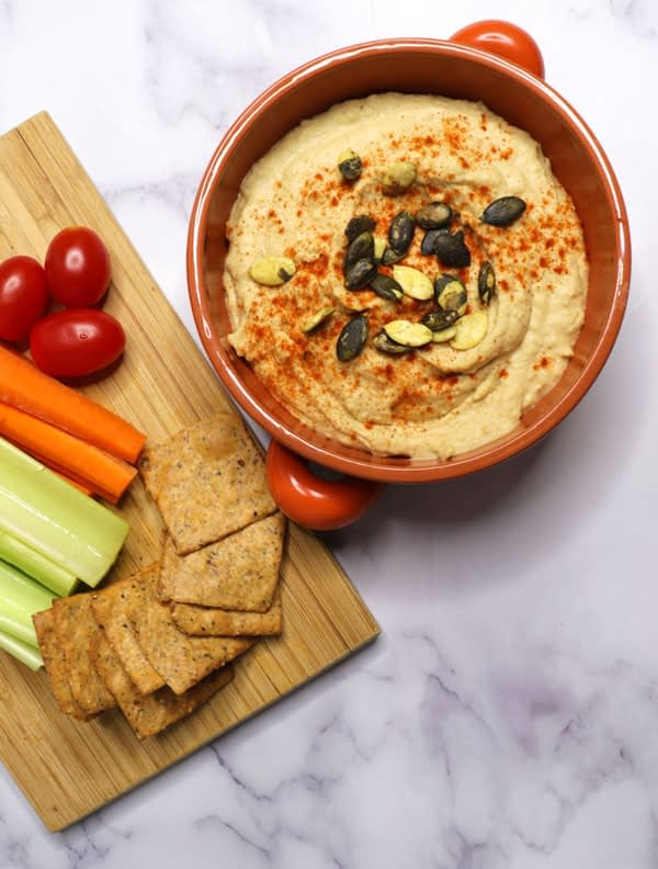 Oil-free hummus served with the vegetables on the side
